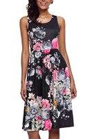 Kobieta odzież moda lato Chic 50 s Party-line Vintage Style zakochać się w Kwiatowy Print Boho Sukienka dorywczo Huśtawka 61612