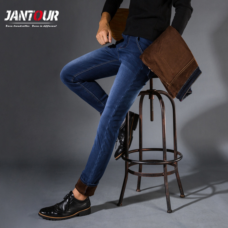 jantour Winter Stretch Jeans Men Warm Fleece Flannel Lined Quality Denim Jean Pants  Brand Black blue Jeans Mens Big Size 28-42 airgracias elasticity jeans men high quality brand denim cotton biker jean regular fit pants trousers size 28 42 black blue