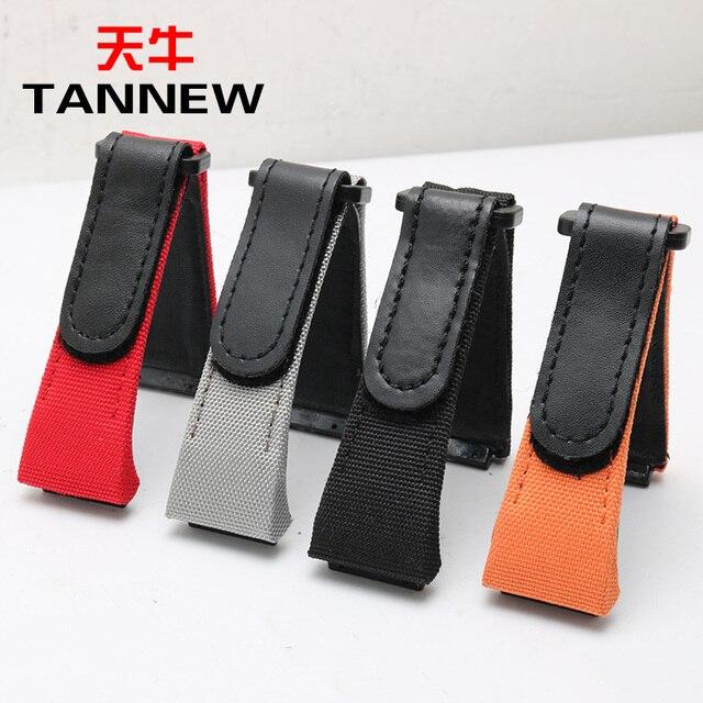 Lujosa Lona de nailon de 27mm con correa de reloj de cuero genuino para hombre pulsera ajuste de la muñeca de la pulsera 7750 envío gratis