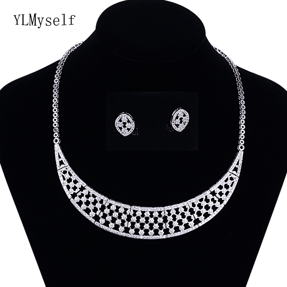 Tennis hollow design 2pcs jewelry set for party Necklace/Earrings shiny crystal Large jewelry sets for women цена