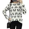 2017 Плюс Размер S-2XL Женщины Зима Толстовки Пуловеры Теплый Сладкий Коралловых Бархатной Плюшевые Руно Kawaii Panda Отпечатано Кофты Топы