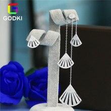 GODKI Luxury Long Tassels Hollow Sector Fan Drop CZ Asymmetry Dangle Earring Anti-allergic Jewelry Boucle D'oreille