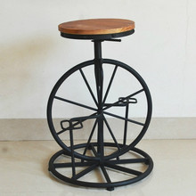 Bicycle Style Wrought Iron Chair Wheel Stool Industrial Wind Lifting Chair Retro Bar Stool Solid Wood Leisure Chair(China)