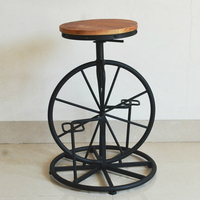 Bicycle Style Wrought Iron Chair Wheel Stool Industrial Wind Lifting Chair Retro Bar Stool Solid Wood Leisure Chair