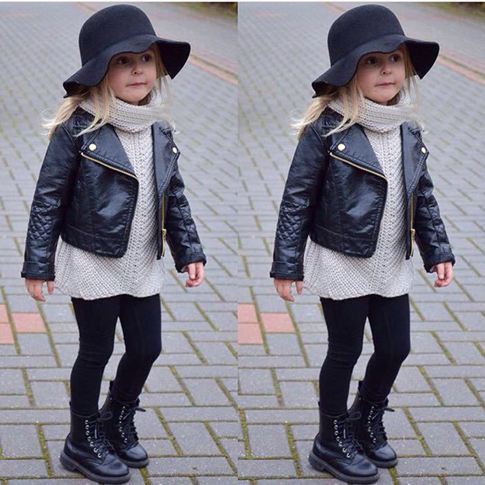 Autumn Winter Kids Baby Boys Girls Leather Jacket Short Overcoat Clothes Outwear