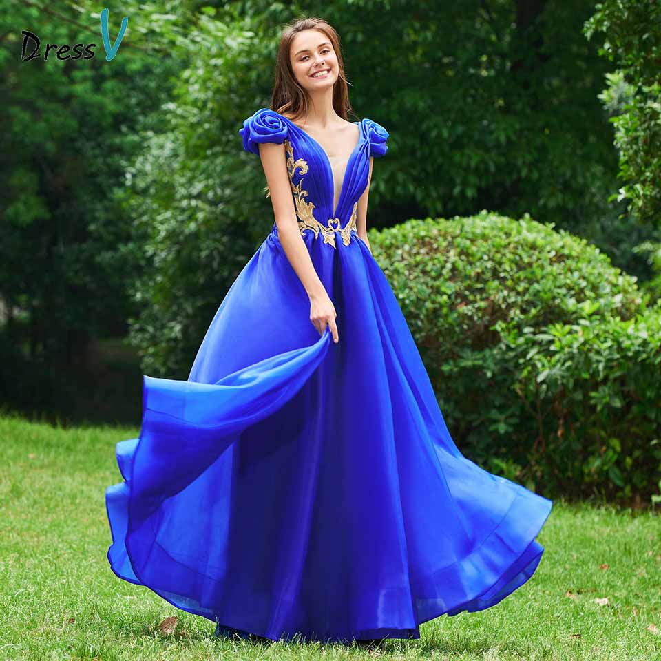 Dressv elegant   prom     dress   v neck a line sleeveless appliques zipper up short sleeves evening party gown   prom     dresses   customize