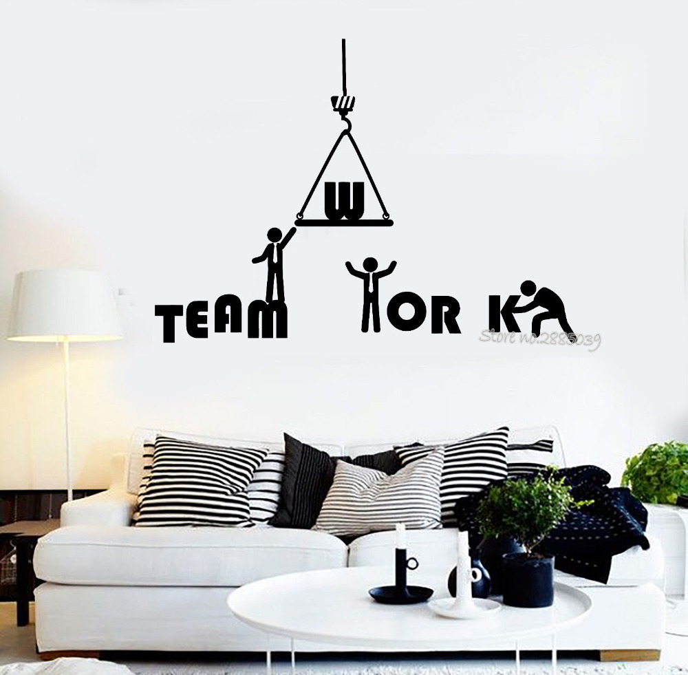 Teamwork Word Wall Sticker Quotes Vinyl Removable Wall Decal Office Inspiration Decals Mural Art Tattoo Interior Decor New LA530