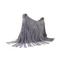Wildleder Quasten Dekoration frauen Handtaschen Marke Vintage Frauen Messenger Bags Grau Einzelner Schulterbeutel 2015 Bolsa Feminina ACC044