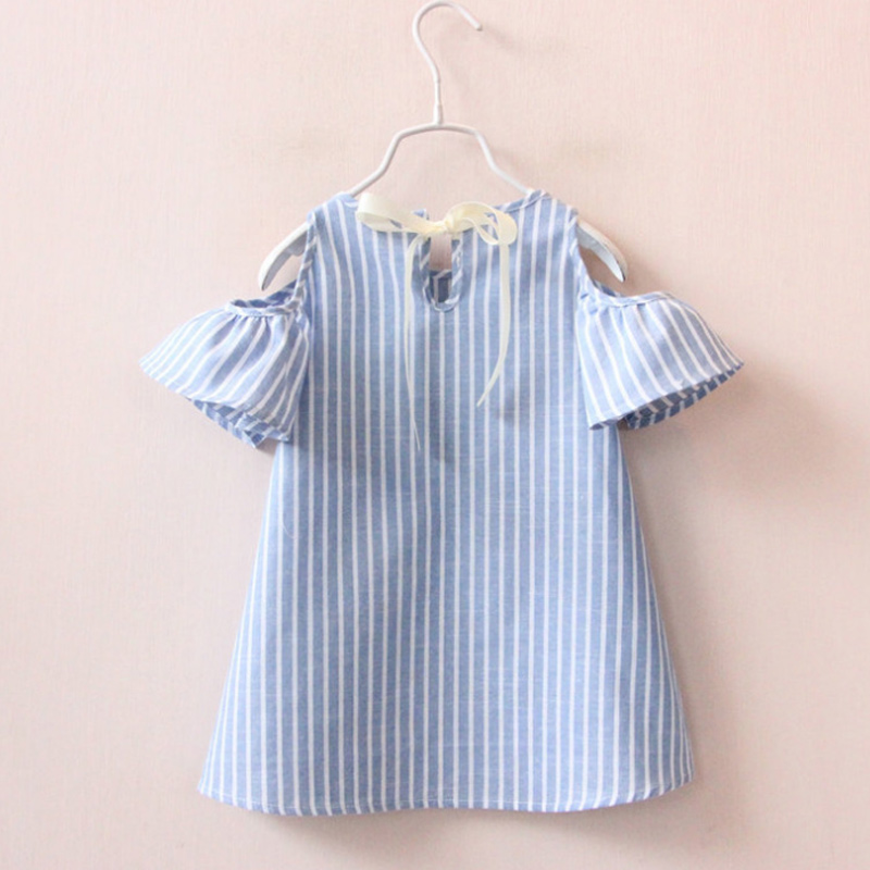 Fashion Summer Children Kids Baby Girls Dress Cotton Casual Short Sleeve Striped Off Shoulder Dresses FJ88 2pcs children outfit clothes kids baby girl off shoulder cotton ruffled sleeve tops striped t shirt blue denim jeans sunsuit set