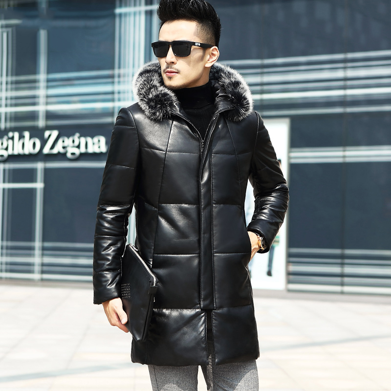 Winter Genuine Leather Down Jacket Male parkas Fox