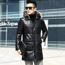Winter Genuine Leather Down Jacket Male parkas Fox Fur hooded Jackets