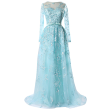KapokBanyan Real Photo Light Blue Appliques Prom Dresses 2017 with Sashes Sweep Train Long Sleeve Lace Party Gown Robe de soiree
