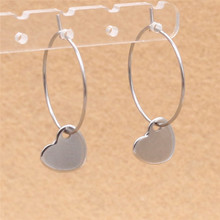 316 L Stainless Steel Hoop Earrings With Brief Love Hear Charms Never Fade Anti-allergy
