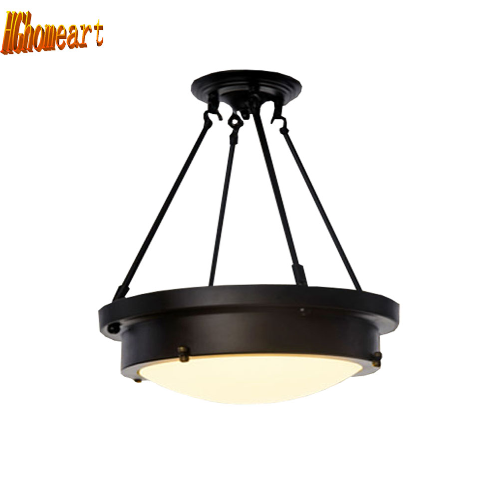 HGhomeart American Retro Style Iron Led Ceiling Lamp Bedroom Indoor Lighting Led Ceiling Light Luminaria Ceiling LED Lights Lamp retro matte black iron ceiling light american industrial iron lights