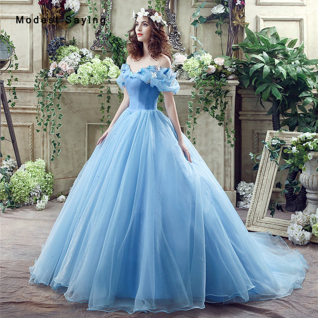 Elegant Blue Princess Ball Gown Bow Beaded Short Puffy Sleeve Prom ...