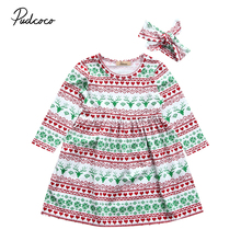 Christmas Kid dress Autumn new kid baby girl cute deer print long sleeves dresss xmas clothing + headband 2pcs set