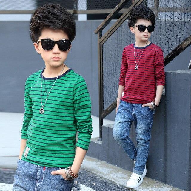 Boys long-sleeved spring / autumn T-shirt 2017 new baby boy clothing big boy striped knit shirt 6/7/8/9/10/11/12/13/14 years