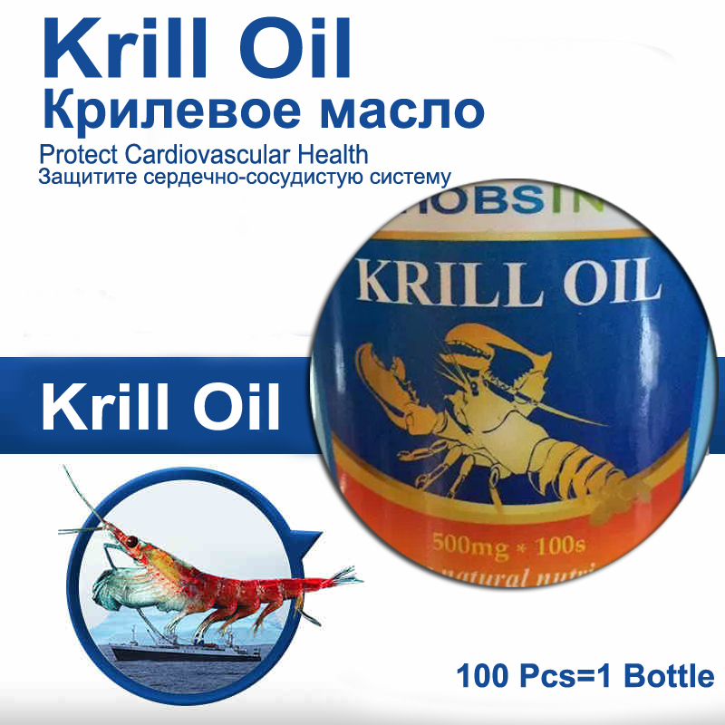 Krill Oil Gel Caps 100 Pcs Omega-3 Fatty Acids-EPA-DHA Astaxanthin Cardiovascular Relaxation 1000mg 100 pcs fish oil bottle for health capsules omega 3 dha epa with free shipping
