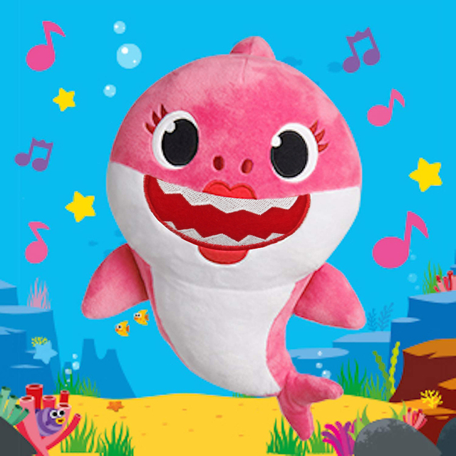 Soft Cartoon Baby Shark Dolls Toys With Music