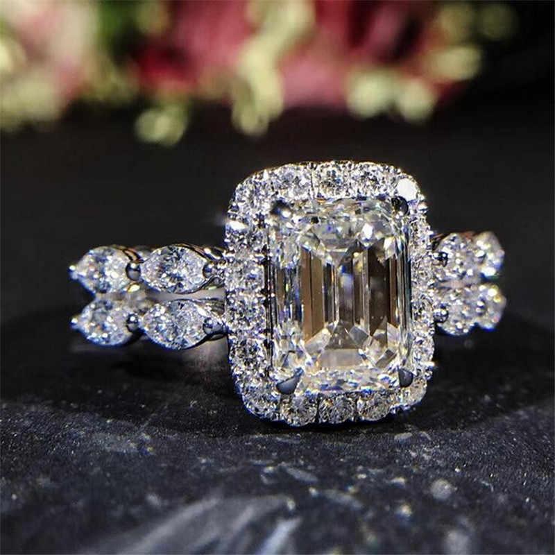 Choucong sparkful Promise anillo 925 Plata de Ley 2ct AAAAA zirconia cz anillos de compromiso para mujer joyería de fiesta