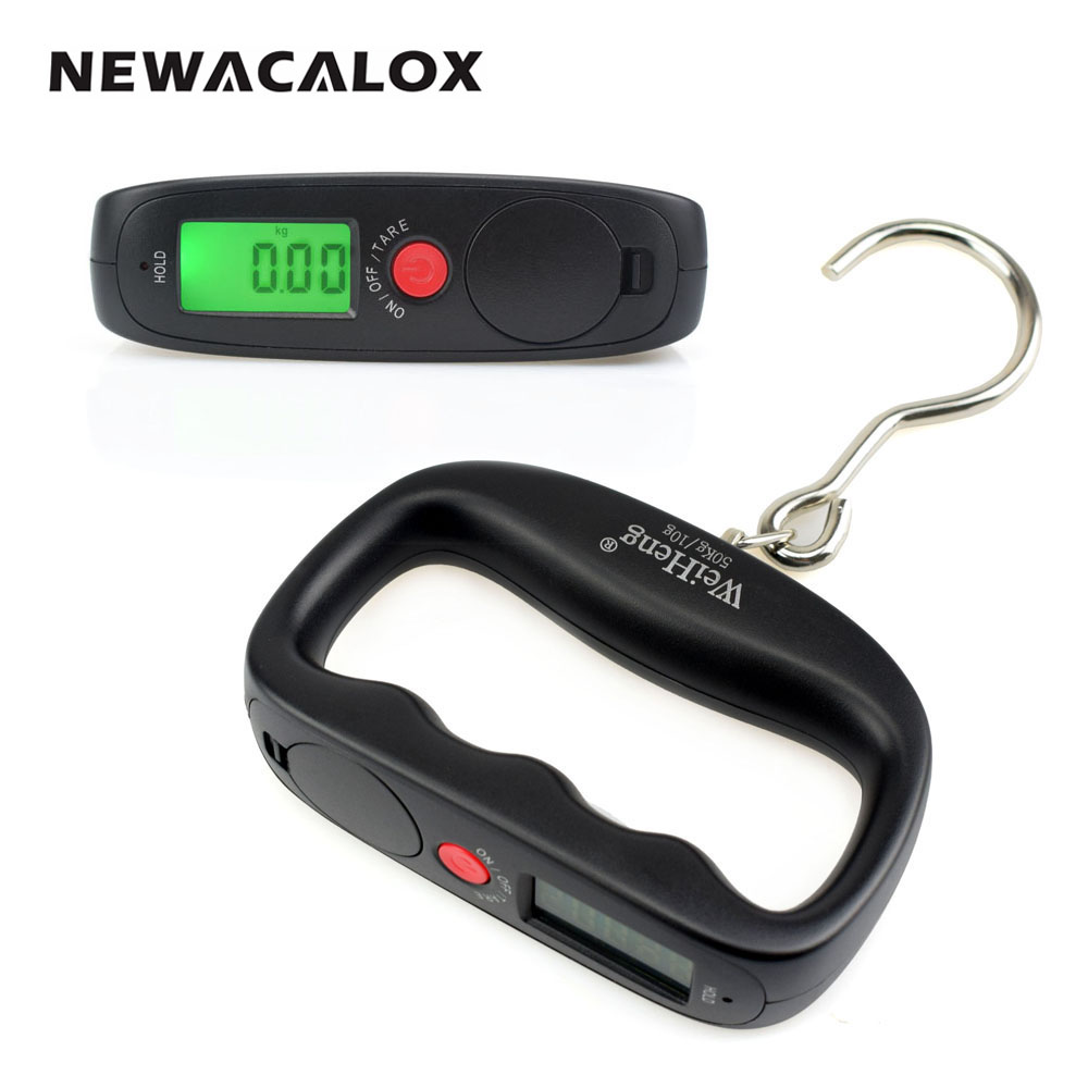 NEWACALOX 50kg x 10g Mini Portable Electronic Scale Weight Luggage Scale Digital Fishing Travel Stainless Steel Hook Scale portable 1 3 8 led 0 12w 48lm digital luggage scale black 2 x aaa 10g 50kg