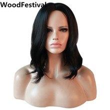 Толстые woodfestival женские натуральный черный парик Боб Короткие Волнистые Синтетические парики для черные женские косплей волос термостойкие