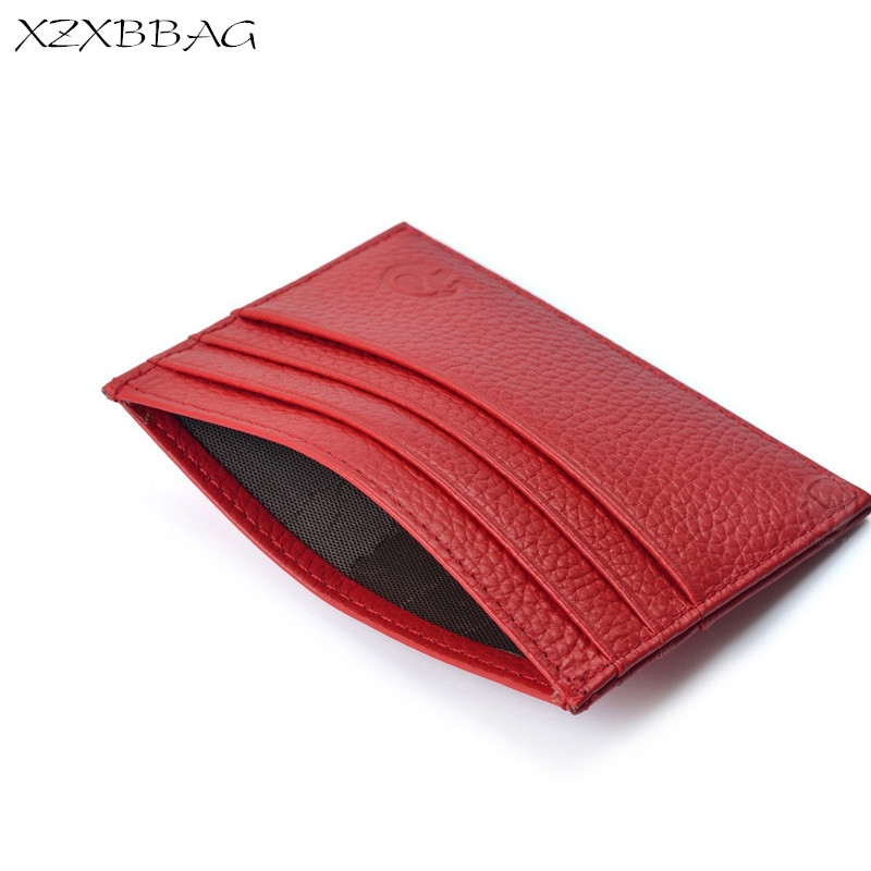 XZXBBAG 100% Genuine Leather Credit Card ID Holders Women Simple Thin Vintage Card Case Covers Female Cash Card Pack Cardholder