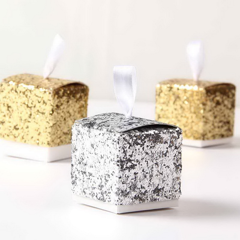 Wedding Party Favors And Gifts Wedding Favor Chocolate Candy Gift Boxes Party Silver Gold Glitter Favor