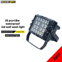 2pcs/lot Waterproof IP 65 LED Wash Light Bar Outdoor 20 x 18w LED Stage Wash Lights RGBW UV 6IN 1 Color Wash Lighting