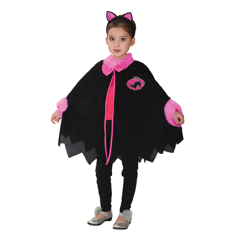 2018 Hot sell Halloween Witch Cloak Gown Robe Cosplay Costumes Coat Cloak Witch Hat Girl Party Costumes for kid Chirstmas