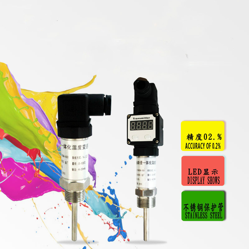 Plug-in Integrated temperature transmitter Modular 4-20mA Thermoelectric resistance PT100 sensor can be pasted type three wire pt100 thermal resistance platinum resistance surface heat resistance temperature sensor 1m