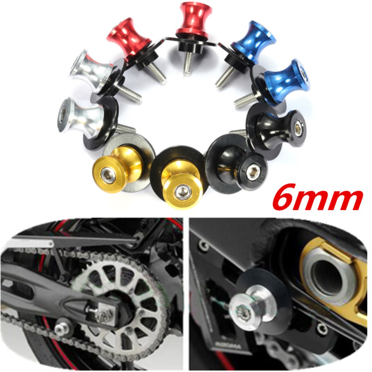 6MM Motorcycle Swingarm Sliders Spools For Yamaha YZF R6 R6S R7 YZF1000 golden 6mm motorcycle carbon fiber swingarm spools slider fits for yamaha yzf r1 r6 r6s yzfr1 yzfr6 yzfr6s yzf r6s