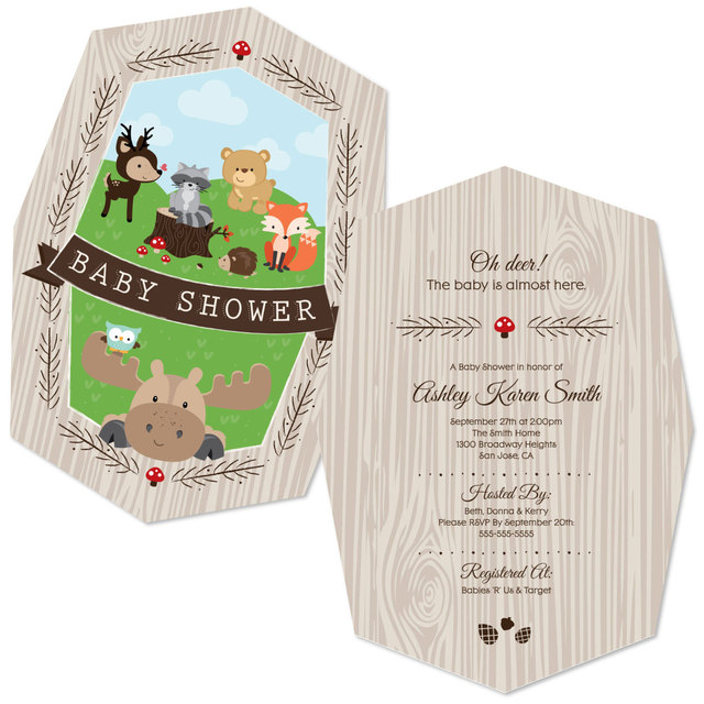 Woodland Party Invitations Woodland Creatures Invite for a Baby