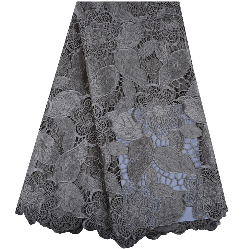 Grey Hot Sales High Quality African Chemical Lace Fabric Water Soluble Lace Nigerian Guipure Wedding African