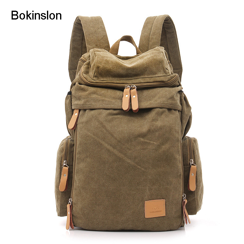 Bokinslon Woman's Backpack Fashion College Wind Retro Backpack Canvas Man Casual Large Capacity Travel Bag Brand Women Unisex bokinslon backpacks brand womens fashion classic retro women backpack bag college wind pu leather school girl backpack