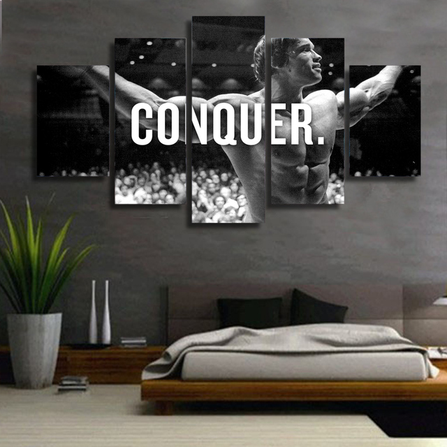 Modern Wall Art Canvas HD Prints Frame Modular Poster 5 Pieces Conquer Pictures Arnold Schwarzenegger Painting Home Decor PENGDA