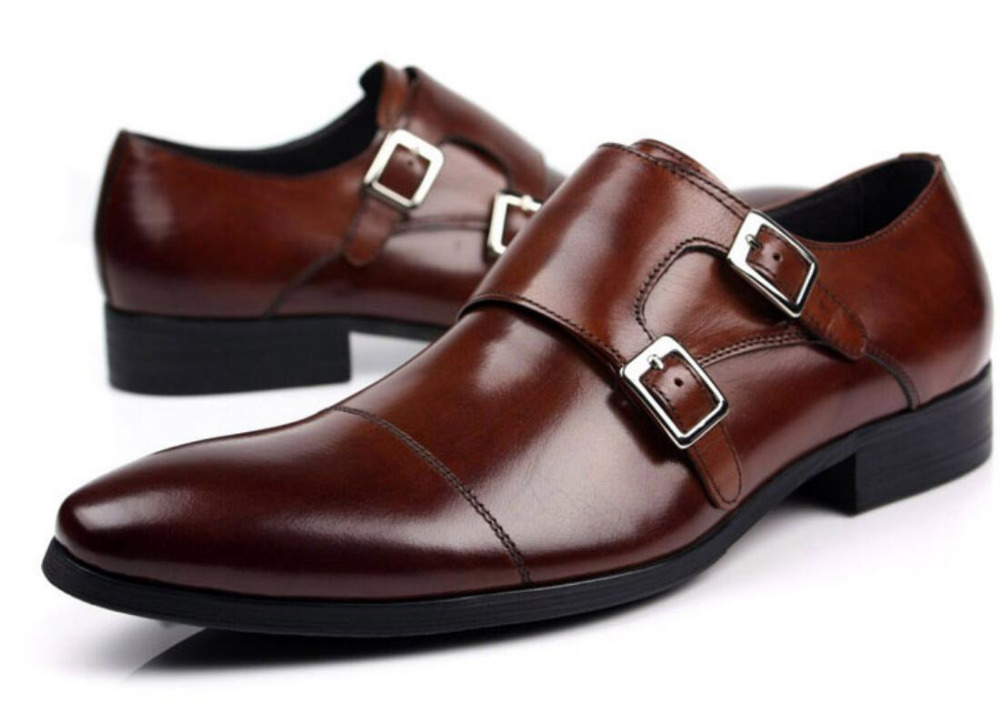 Italy Man Prom Oxfords Shoes 2018 Men s real leather dress shoes Double Monk Strap Buckle