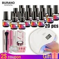 BURANO Nail kit buy one get 34pcs 48w LED Lamp with 20pcs soak off Nail Gel Polish lasting Nail Polish Kit For Nail Art Tools