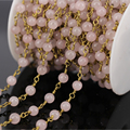 DIY 5Meter Rose Quartz Smooth Round Beads Chains,Gold plated Wire Wrapped Rosary style Chain Necklace Fashion Jewelry Findings