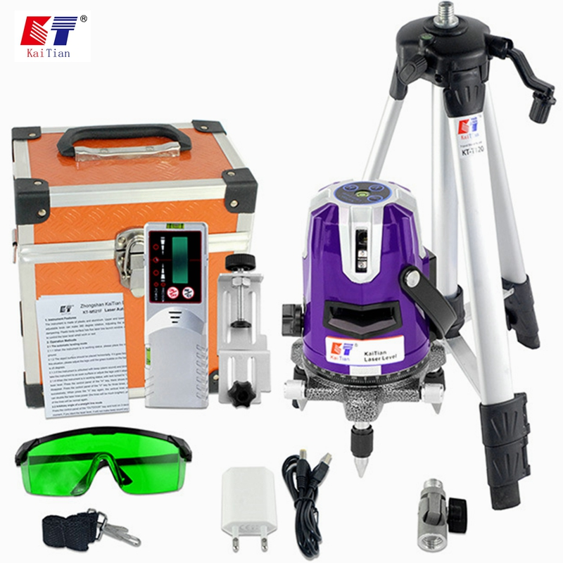 KaiTian 2 Lines Green Laser Levels Receiver Self-Leveling 360 Rotary 532nm Horizontal Vertical Livello Lasers Tripod Level Tools лазерный уровень kaitian 5 1 532nm slash 5 lines 1 point rotary laser level green