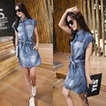 2016 Summer Autumn Lapel Women Sleeveless Denim Dress Boyfriend Club Bodycon Occident Casual Jeans Female Cowboy Dresses SK6234