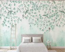 beibehang 3D Fresh personality large green leaf watercolor style Nordic simplified TV background papel de parede 3d wallpaper