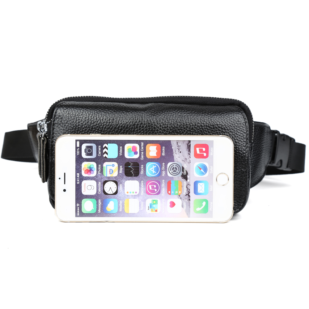 fd85cb5f35 TIDING Wide Strap New Black Leather Fanny Packs Fashion Waist Bum Bag  Travel Work Shoulder Bag 3091R-in Waist Packs from Luggage   Bags on  Aliexpress.com ...