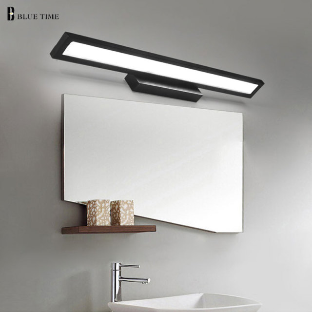 Blue time black finished bathroom mirror front light led wall light blue time black finished bathroom mirror front light led wall light wall mounted led bedroom mirror mozeypictures Choice Image