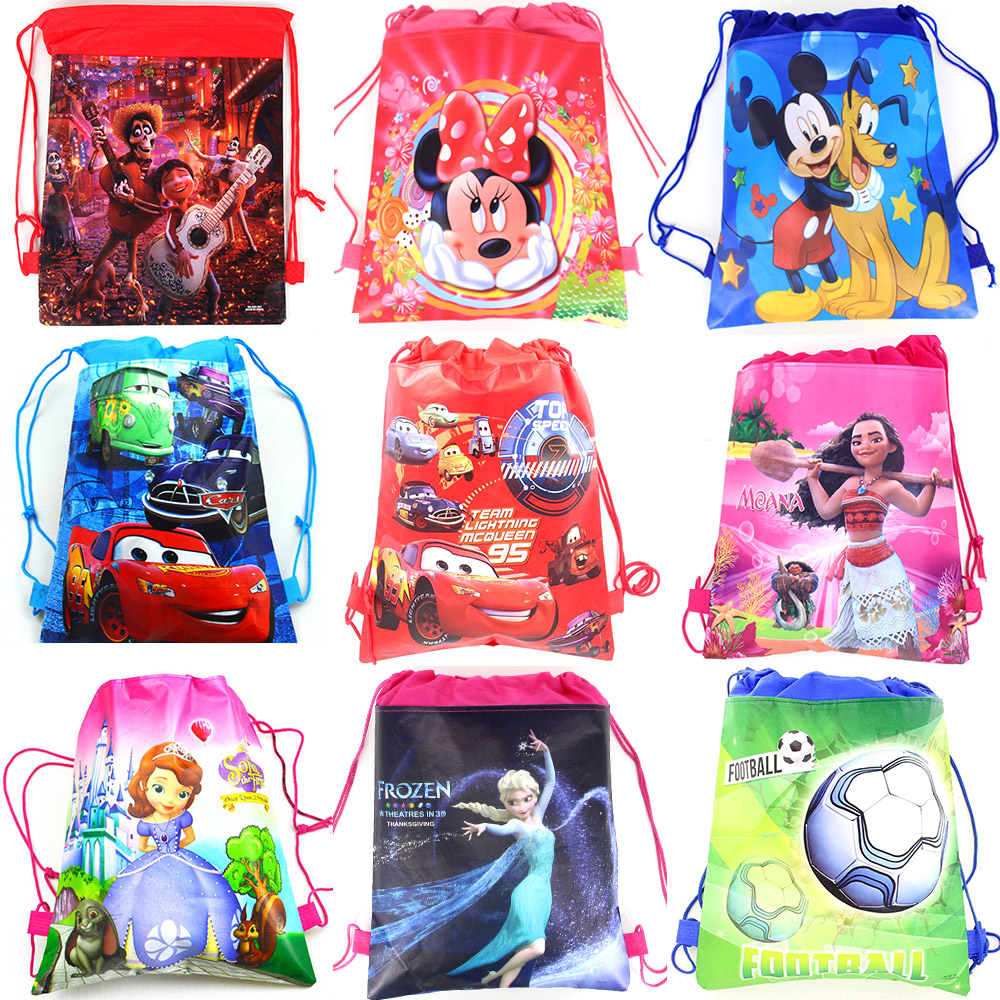 15pcs/lot Coco Cars The Avengers Minnie Mickey Mouse Princess Non-woven Fabrics Drawstring Backpack Shopping Bags