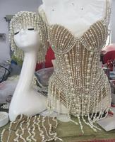 Glisten Pearls Tassel Bodysuit Shining Birthday Celebrate Headdress Leotard Outfit Sexy Women Stage Performance Wear Costume