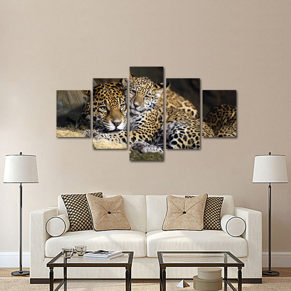 Unframed HD Print 5 Canvas Art Painting Two Leopards Living Room Decoration Animal Spray Painting Mural Free Shipping