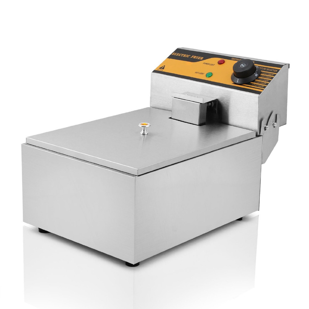 2500W 5.5L Commercial Electric Deep Fryer Countertop Single Tank Stainless Steel With Basket salter air fryer home high capacity multifunction no smoke chicken wings fries machine intelligent electric fryer