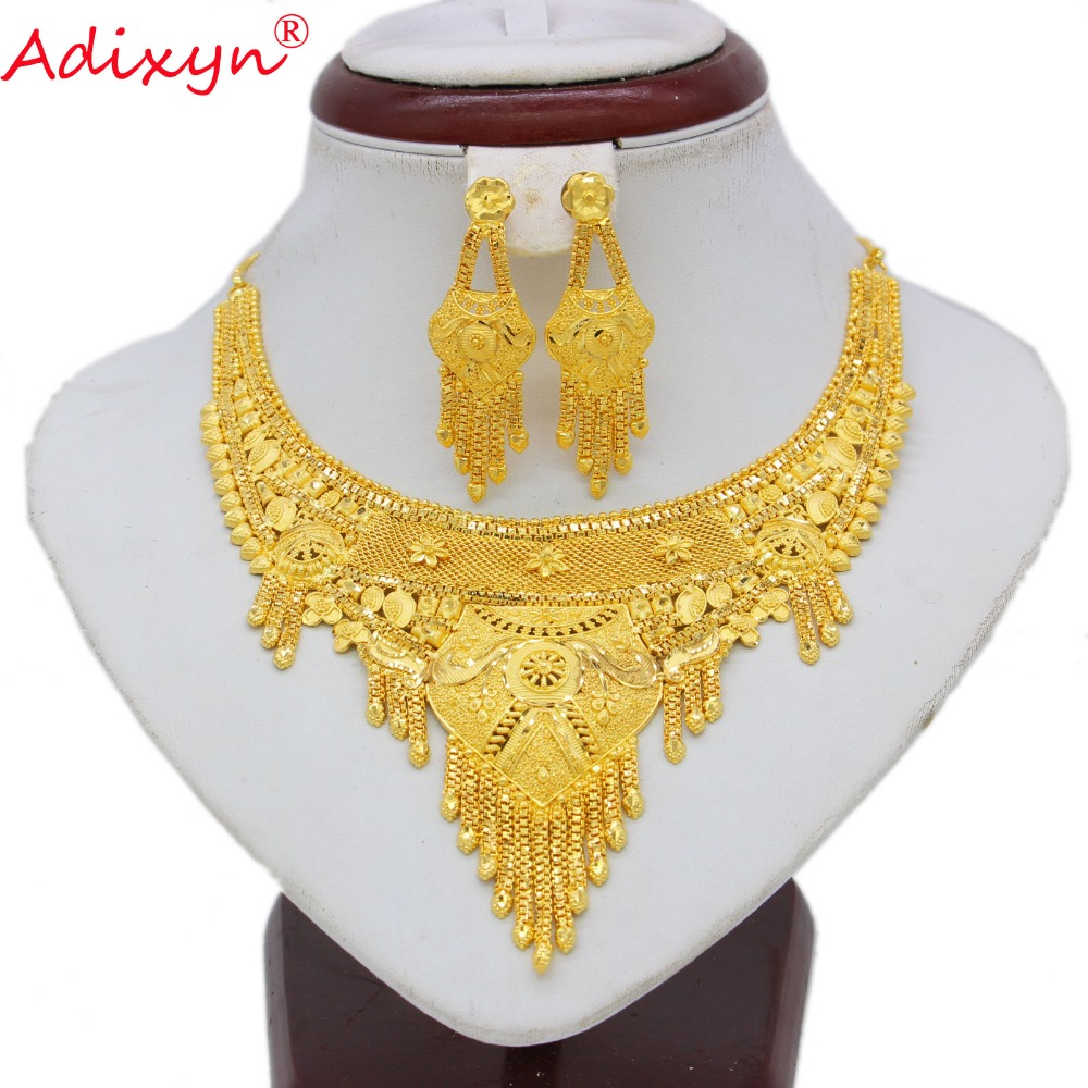 купить Adixyn India Tassels Necklace&Earrings Jewelry Set Women Gold Color/Copper Luxury African/Ethiopian/Dubai Party Gifts N062214 недорого