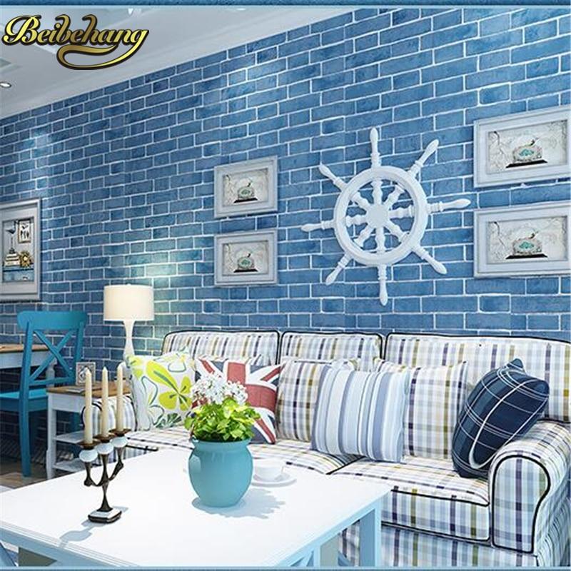 beibehang papel de parede Culture brick blue Mediterranean brick wallpaper box living room study bedroom style wall paper beibehang blue brick mediterranean style